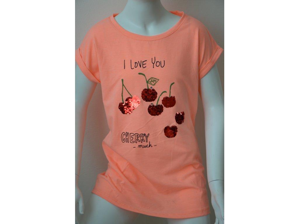 Dívčí tričko Wolf - oranžové s třešněmí