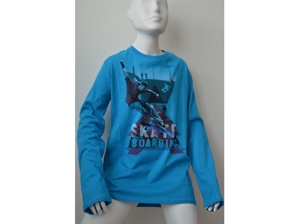 Chlapecké triko Wolf s potiskem, modré, dlouhý rukáv