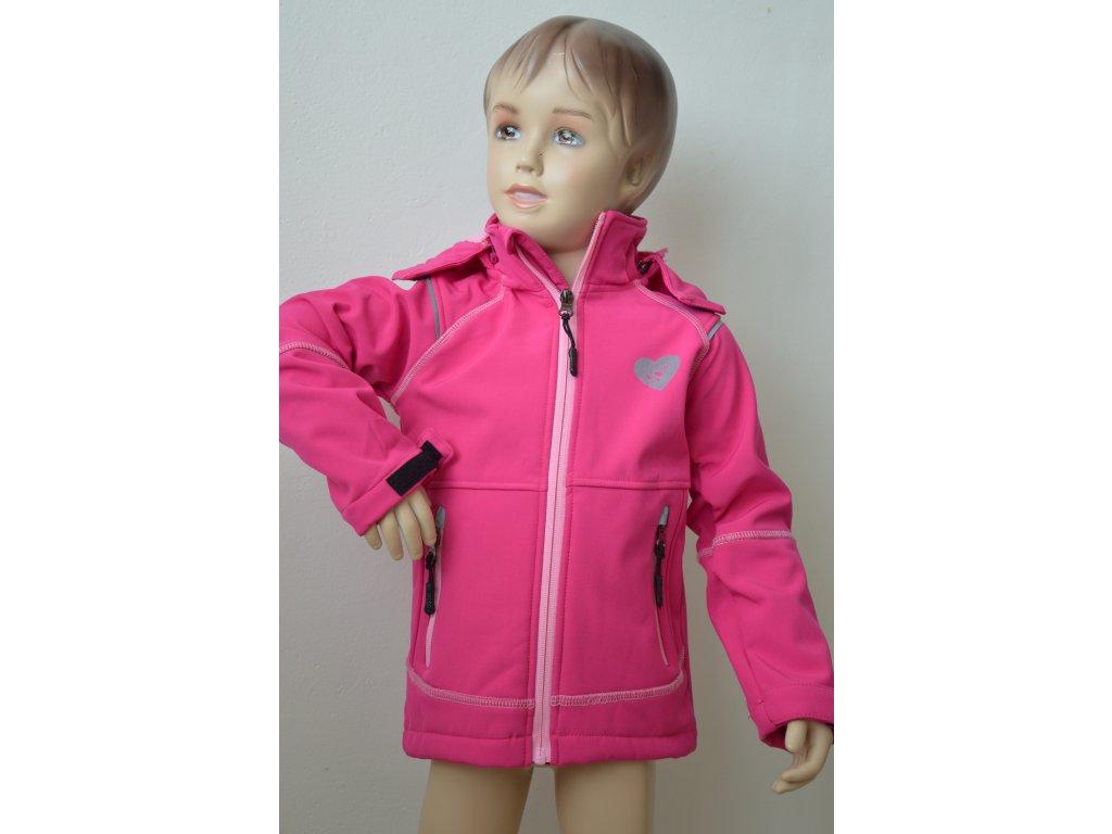 Zateplená softshellová bunda - růžová