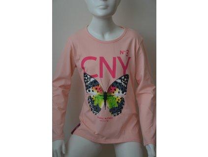 Dívčí triko Kugo s motýlem - světle růžové