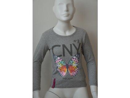 Dívčí triko Kugo s motýlem - šedé