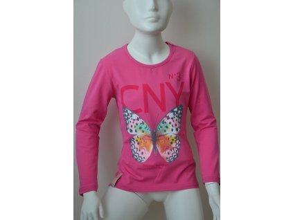 Dívčí triko Kugo s motýlem - růžové