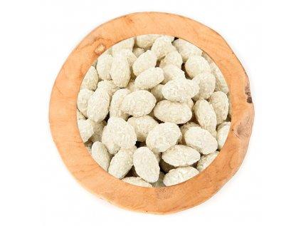 Mandle v bílé čokoládě obalené kokosem