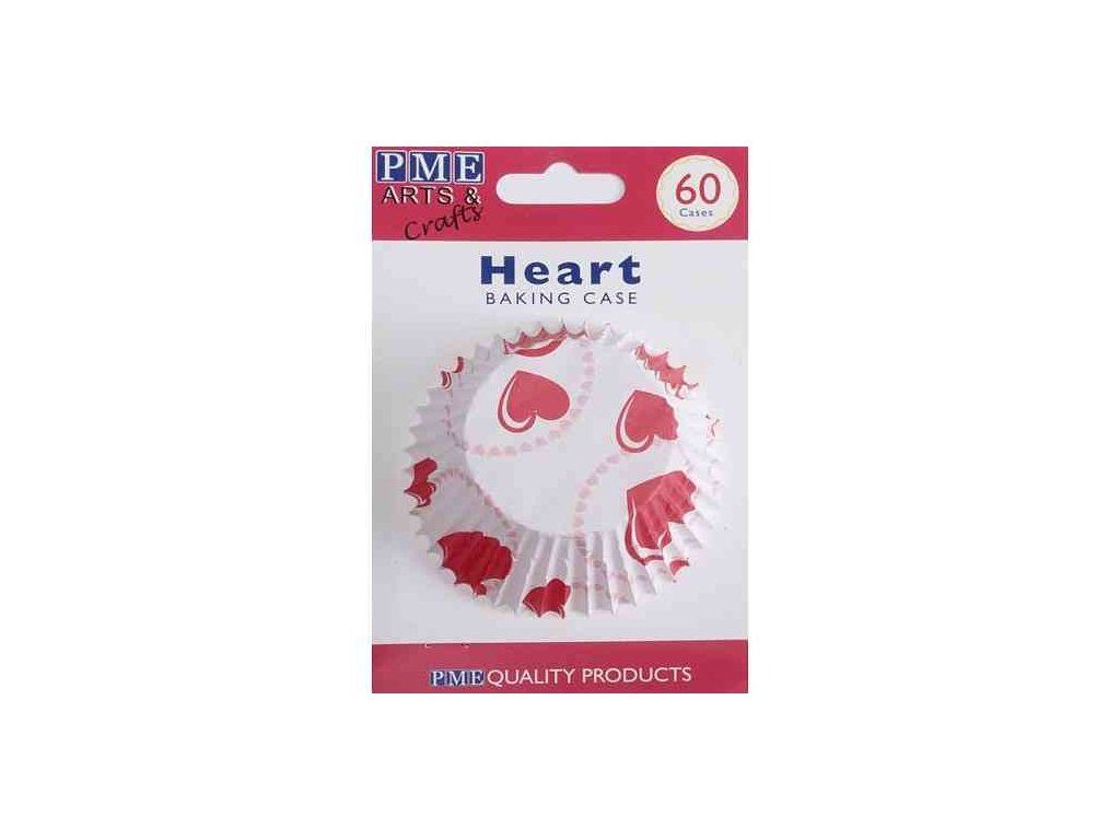 Košíčky 50 x 30 mm (60 ks) - Srdce červená