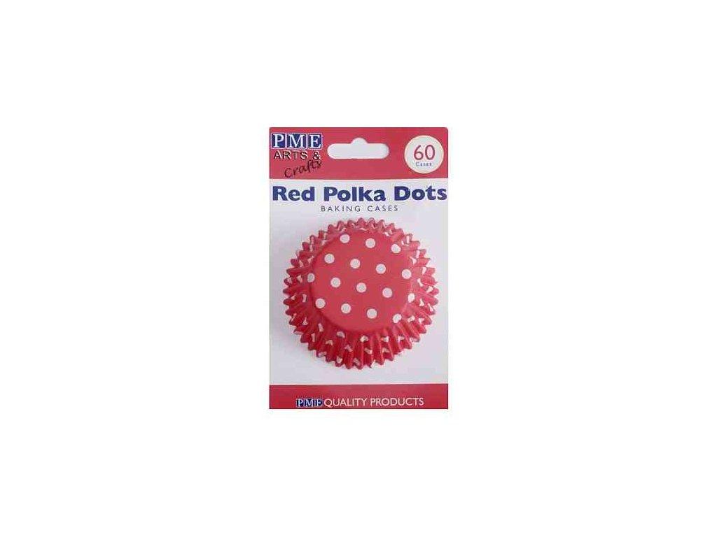 Košíčky 50 x 30 mm (60 ks) - Červené s puntíky