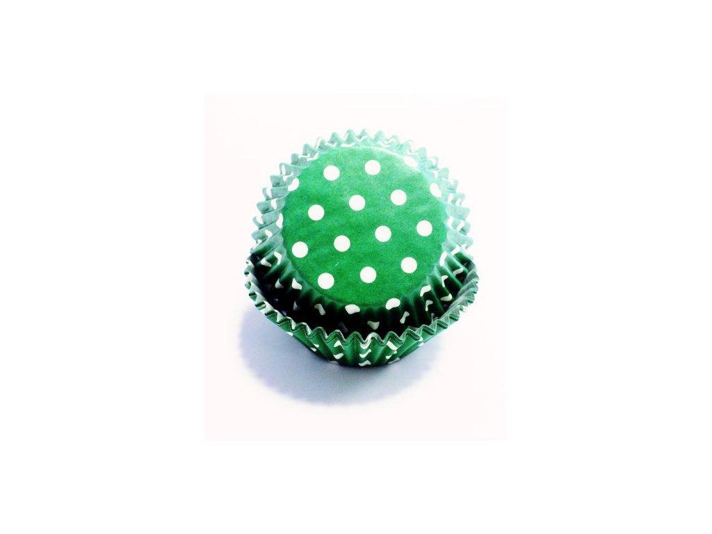 Košíčky 50 x 30 mm (60 ks) - Zelené s puntíky