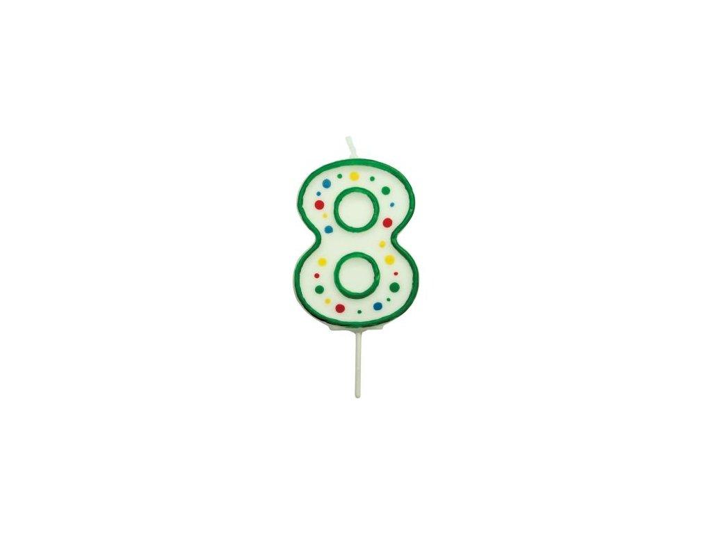 Svíčka číslo PME - Zelená 8