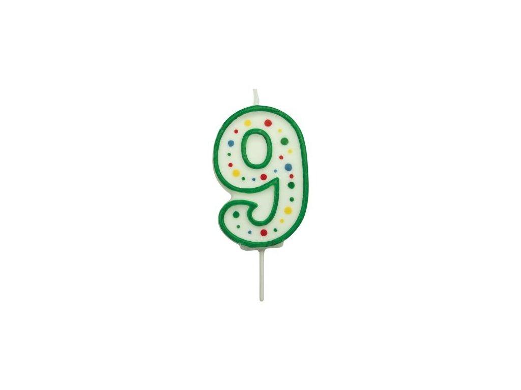 Svíčka číslo PME - Zelená 9