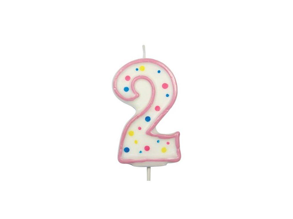 Svíčka číslo růžové - 2