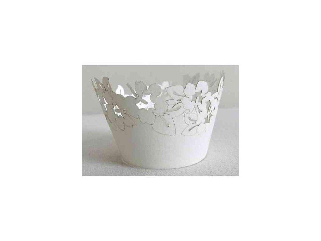 Krajkový košíček - bílé květy