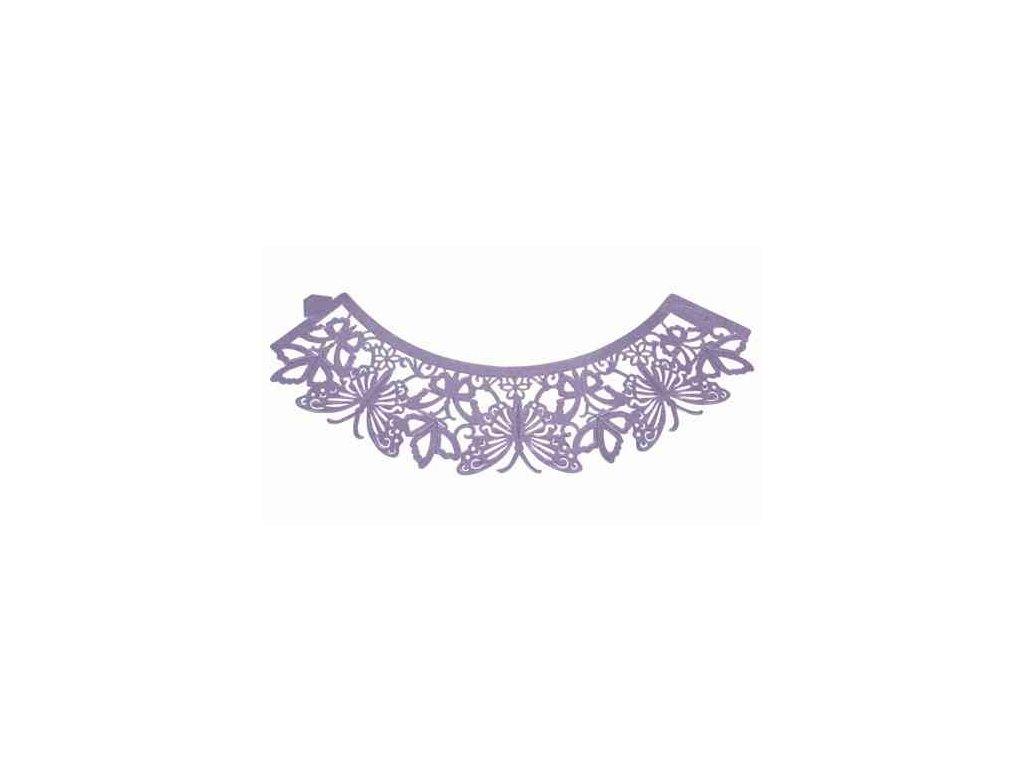 Krajkový košíček - fialoví motýlci