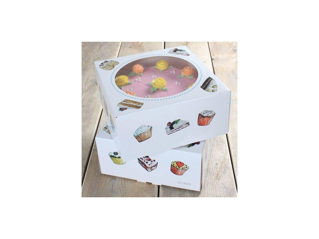 Krabice na dort - čtverec 26 cm - dorty