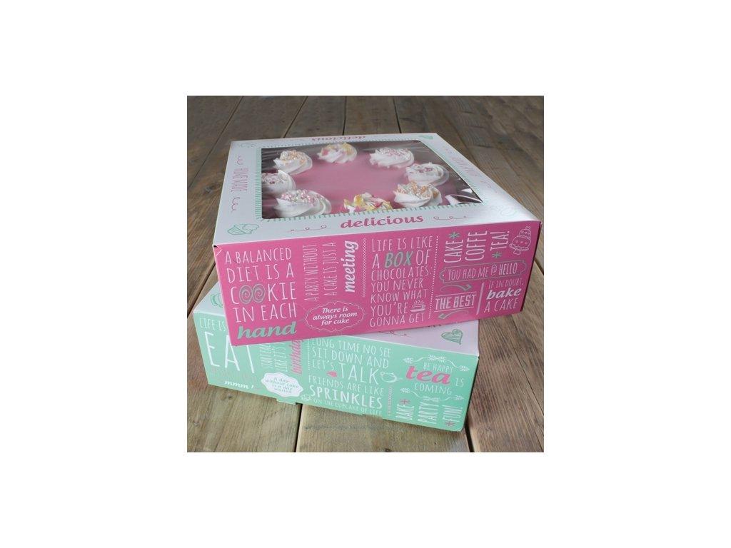 Krabice na dort - čtverec 21 cm - nápisy