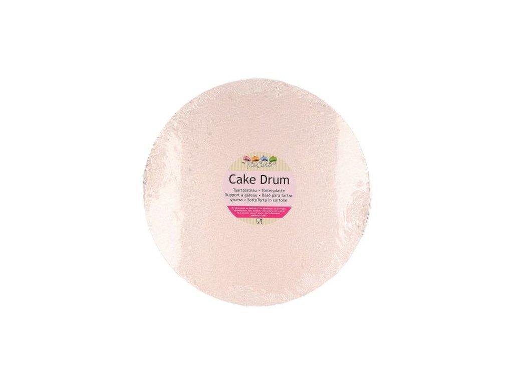 Dortová podložka Fun Cakes - Kruh 25 cm růžovo-zlatá