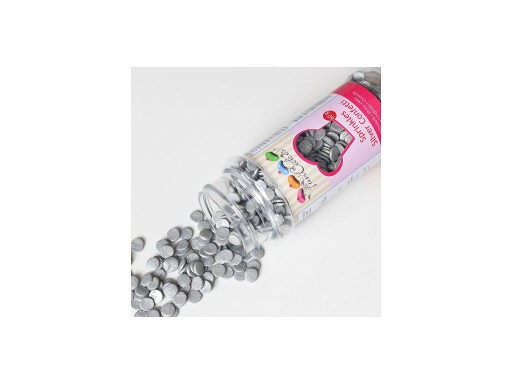 Sypání Fun Cakes - stříbrné confetti