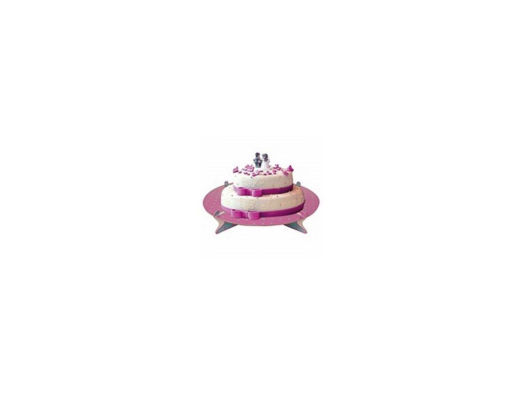 Stojan na dorty - fialovo-zelený