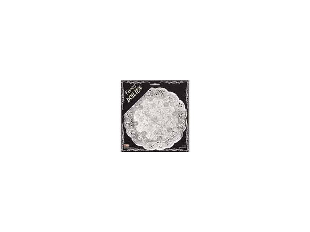 Krajka kulatá 33 cm - stříbrná