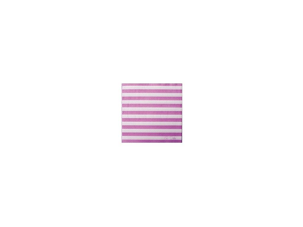 Papírové ubrousky (20 ks) - fialový proužek
