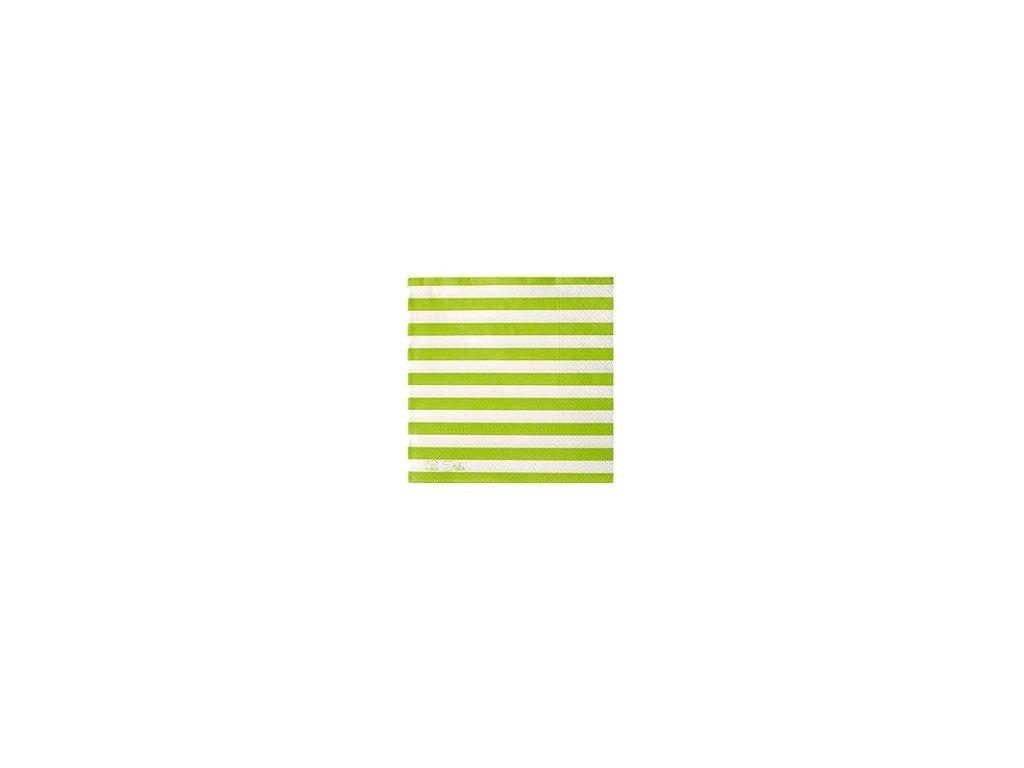 Papírové ubrousky (20 ks) - zelený proužek