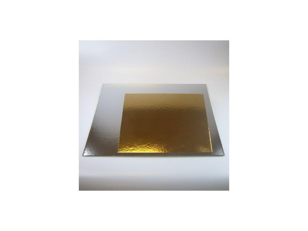 Dortové podložky zlato-stříbrné - Čtverec 25 cm (3 ks)