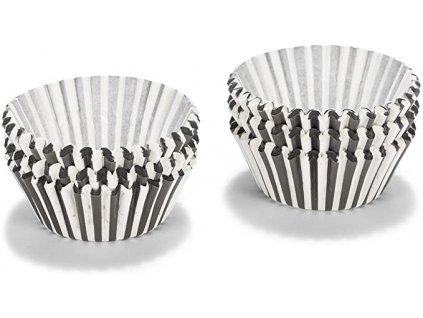 Košíčky Patisse  50 x 30 mm (200 ks) - černobílé pruhované