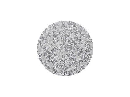Dortové podložka stříbrná  - Kruh 20 cm