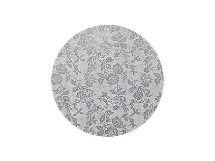 Dortová podložka stříbrná  - Kruh 30 cm