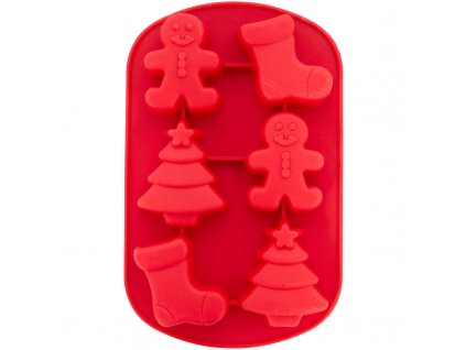 2105 0 0519 Wilton Christmas Shapes Silicone Treat Mold 6 Cavity A1