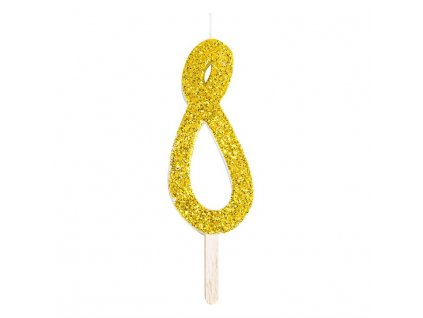 svíčka zlatá glitter