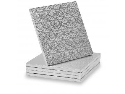 Dortové podložky stříbrné - Čtverec 35 cm
