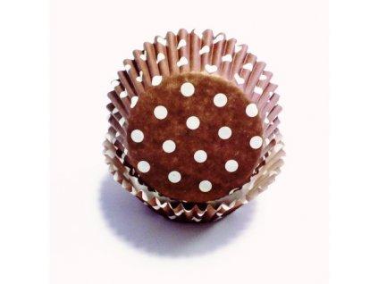 Košíčky 50 x 30 mm (60 ks) - Hnědé s puntíky