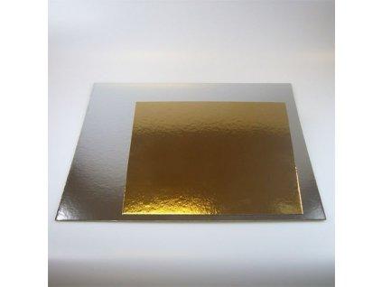 Dortové podložky zlato-stříbrné - Čtverec 30 cm (3 ks)