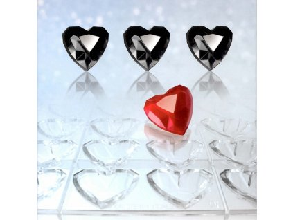 Forma na čokoládu - Diamantové srdce