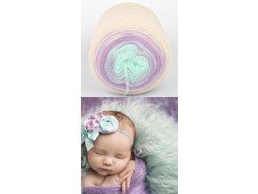 Pletací příze Baby Muffin Stenli 734 krémovo fialovo zelená