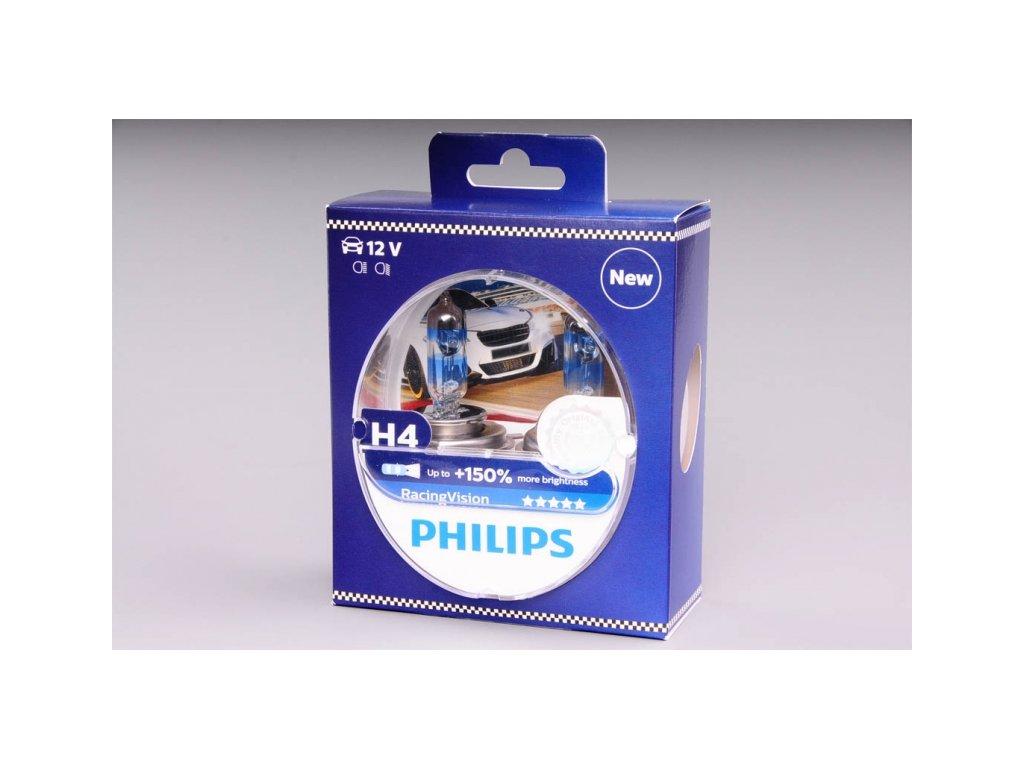 krabička H4 12V 60/55W P43t Racing Vision 2ks box PHILIPS - o 150% VÍCE SVĚTLA