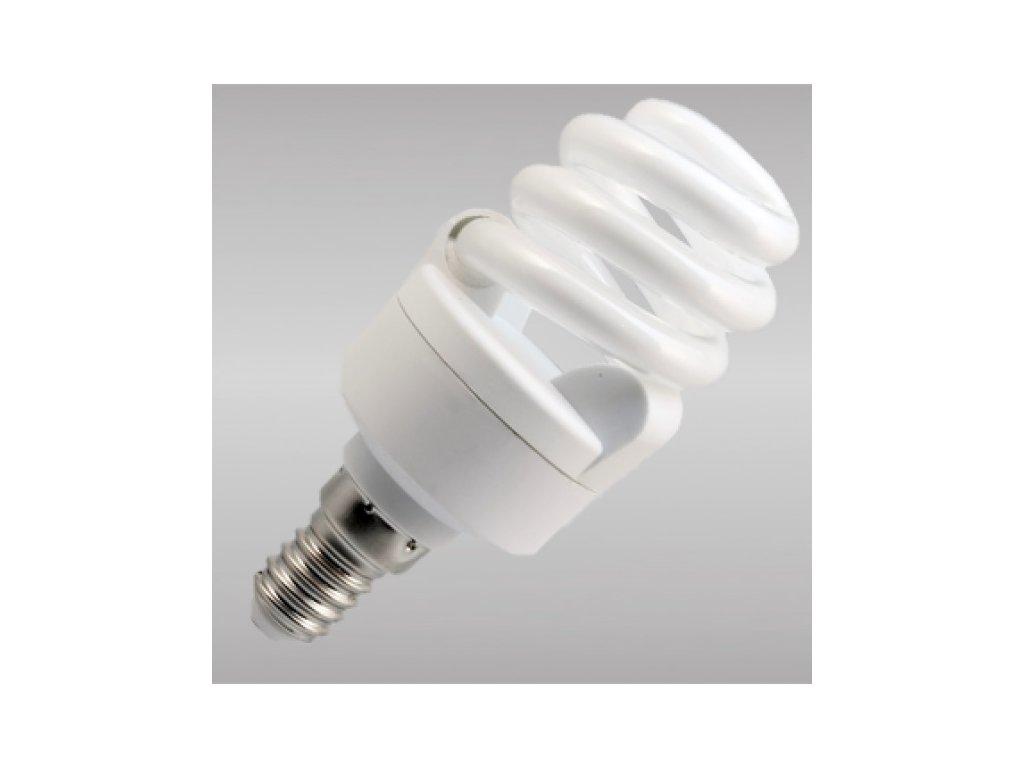 Úsporná žárovka 9W E14 žárovka mini spirála, teplé bílé světlo
