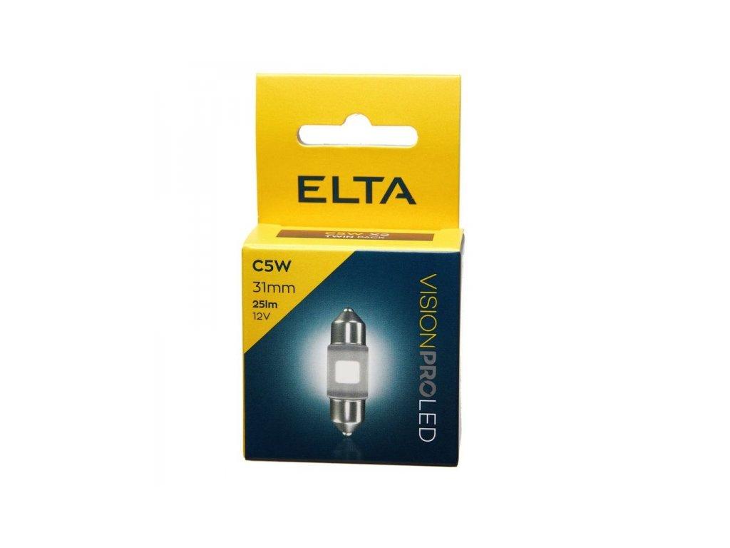 12V LED žárovka C5W SV8,5 31mm 25lm, Elta - sada (2 ks)