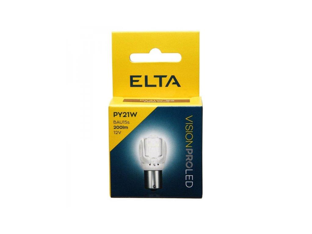12V LED žárovka PY21W BaU15s 200lm oranžová, Elta - sada (2 ks)