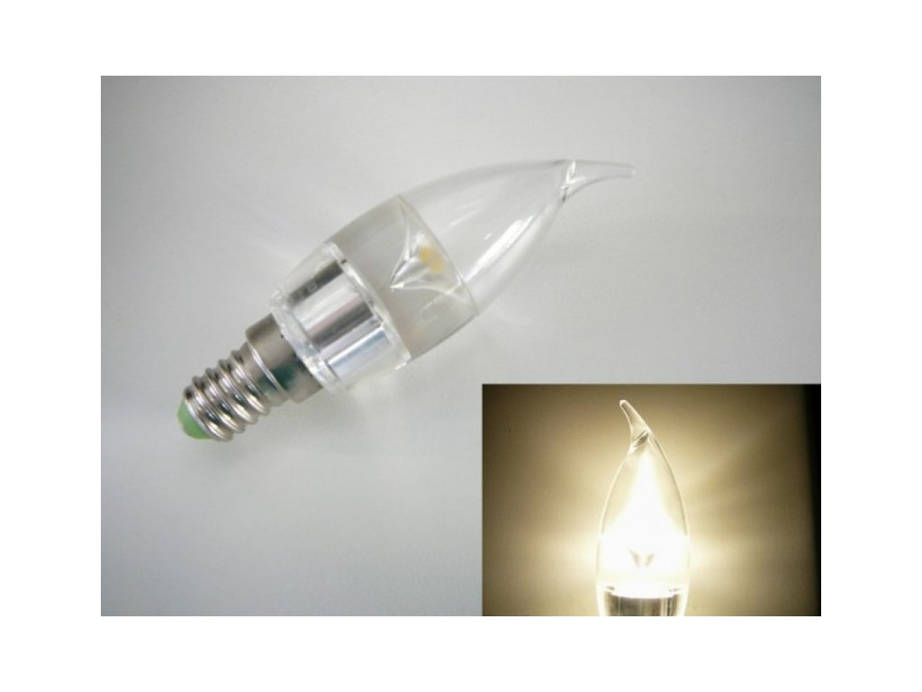 LED žárovka E14 SE3W240 čirá svíčka - Denní bílá