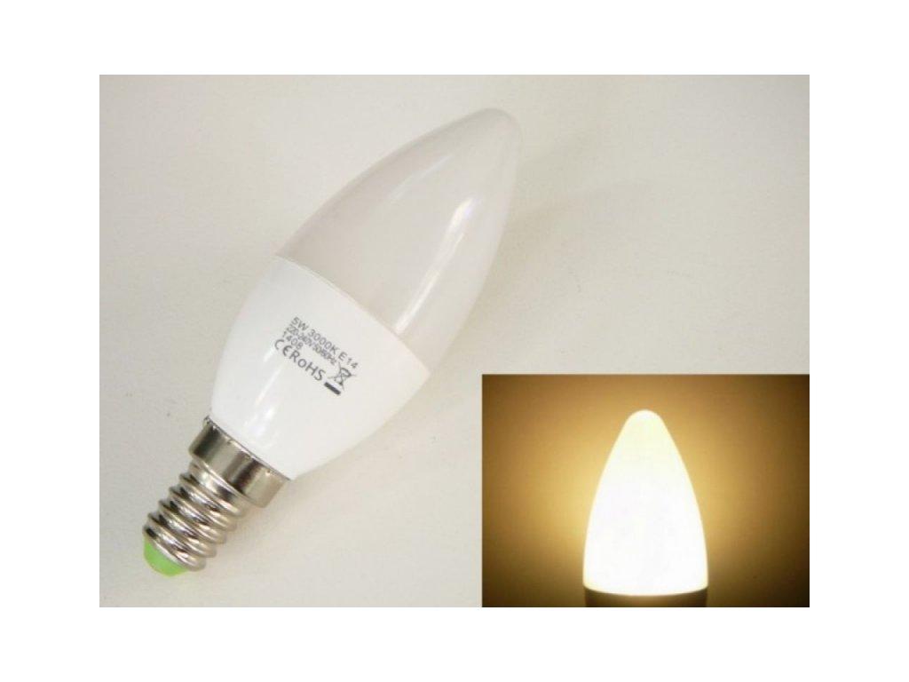 LED žárovka E14 EV5W svíčka - Teplá bílá