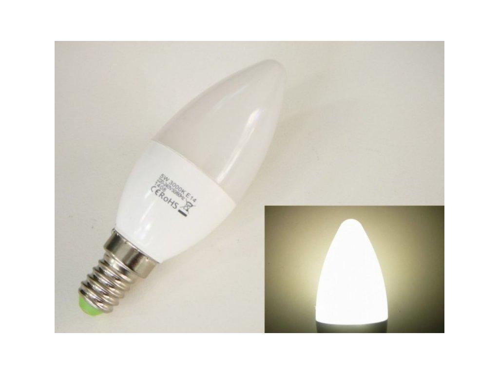 LED žárovka E14 EV5W svíčka - Denní bílá