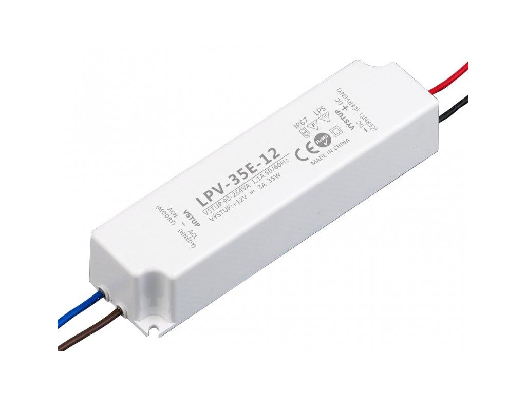 LED zdroj 12V 35W - LPV-35E-12 - 12V 35W zdroj IP67 LPV-35E-12