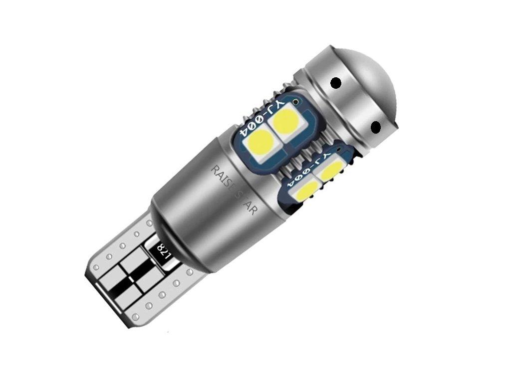 LED žárovka T10 W16W bílá 10LED/3030SMD s čočkou CANBUS