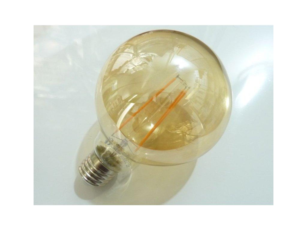 LED žárovka E27 EKF4W G95 FILAMENT kulatá - Teplá bílá
