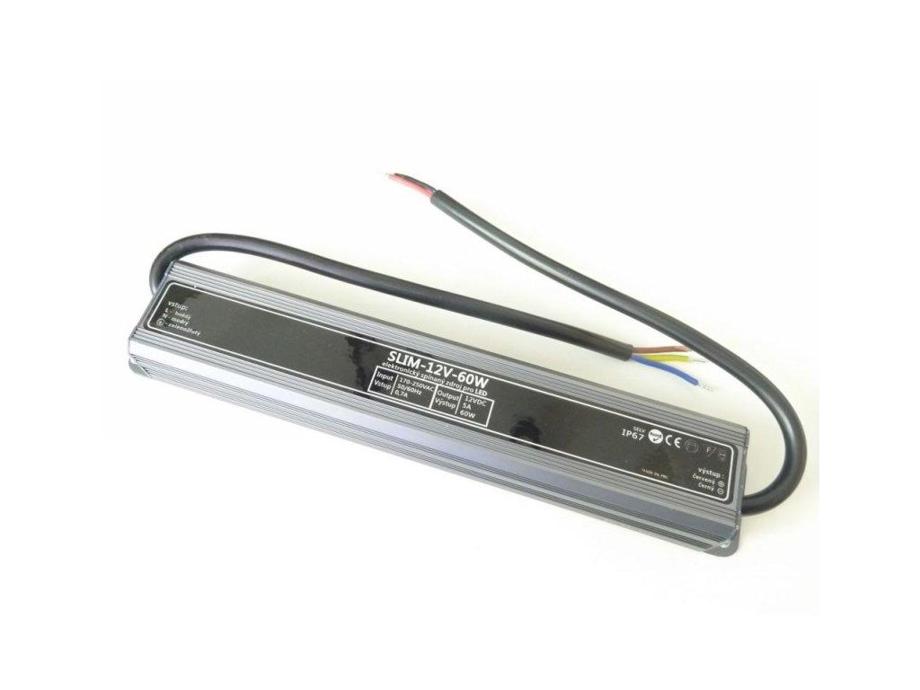 LED zdroj 12V 60W IP67 SLIM-12V-60W - SLIM-12V-60W zdroj IP67