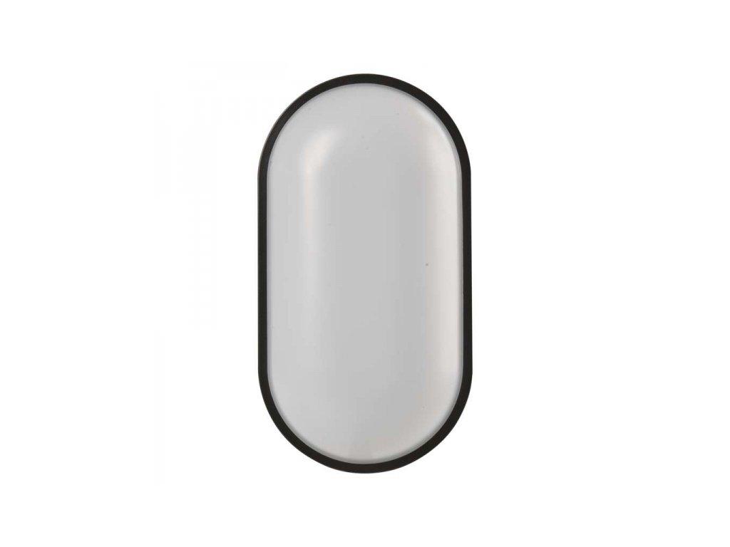 LED přisazené svítidlo černé, IP65, ovál 20W teplá bílá