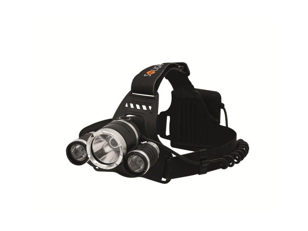 LED čelová svítilna SUPER POWER 900lm 3x Cree LED 4x AA