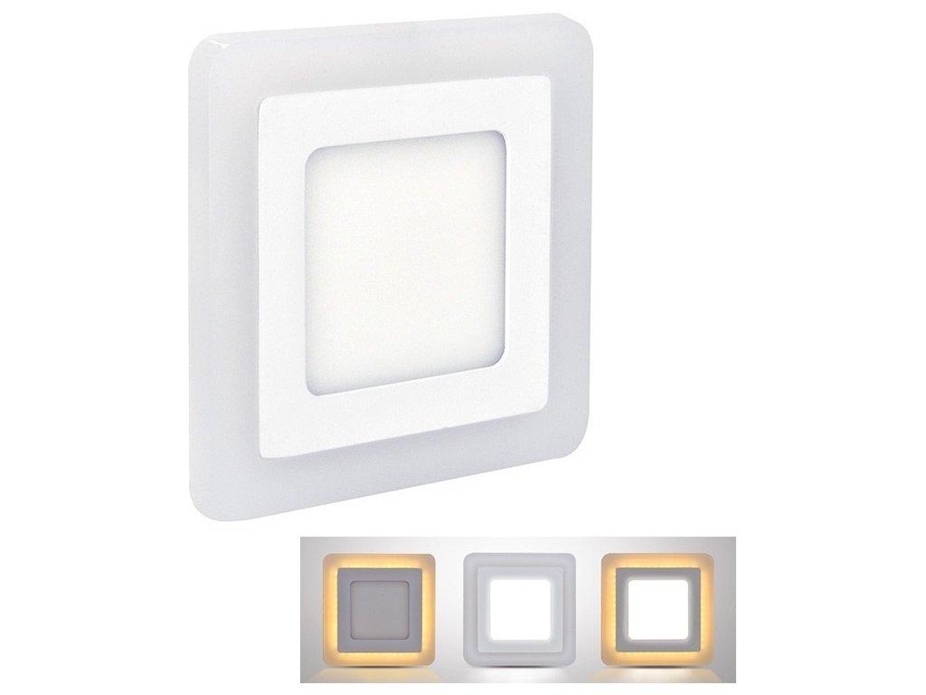 LED podsvícený panel, podhledový, 6W+3W, 400lm, 4000K, čtvercový
