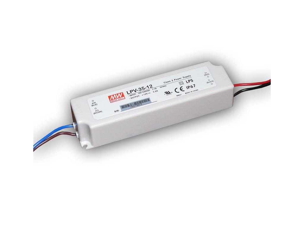 Napájecí zdroj: spínaný LED 36W 12VDC 3A 90÷264VAC 127÷370VDC