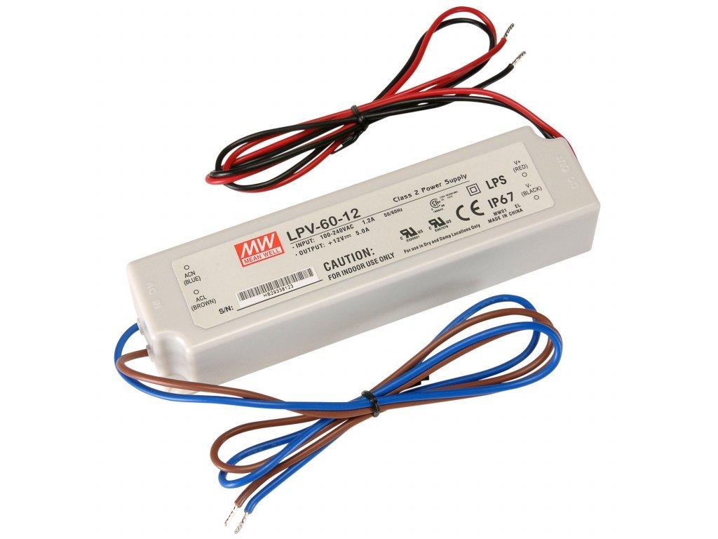 Napájecí zdroj: spínaný LED 60W 12VDC 5A 90÷264VAC 127÷370VDC